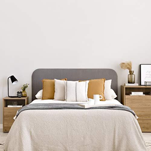Kenay Home-Cabecero Coline Tapizado 165x115cm (AnchoxAlto) Gris Apoyo al Suelo, Cama de 150: 165x3x115cm(AnchoxFondoxAltox)