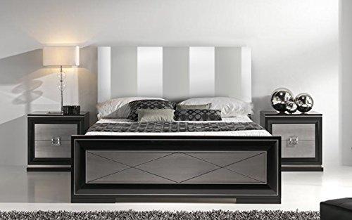 SUENOSZZZ - Cabecero Ohio Líneas Verticales (Cama150) 160x120 cms. Color Blanco y Plata