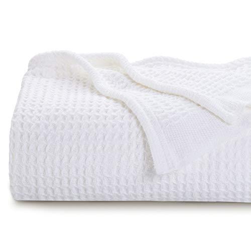 Bedsure Manta Sofá Verano Algodón 100% - Plaid para Sofá Grande de Waffle 150x200 cm, Manta Multiuso para Cama 90 y Cubresofa, Blanco