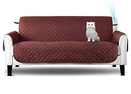 Funda de sofá, Sofa Cover, de 3 plazas, Protector marrón con arnés Ajustable, para Mascotas: Perro o Gato, y también Suciedad. (Tres_plazas)