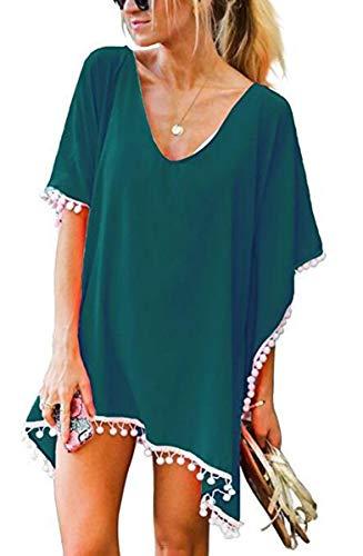 UMIPUBO Kaftan - Traje de baño de gasa, para mujer, diseño de napa verde oscuro Talla única