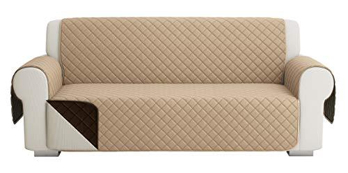 Fundas para Sofa Acolchado, Funda De Sofas 3 Plazas (170 CM), Cubre Sofa Reversible Bicolor, Beige Oscuro / Marrón