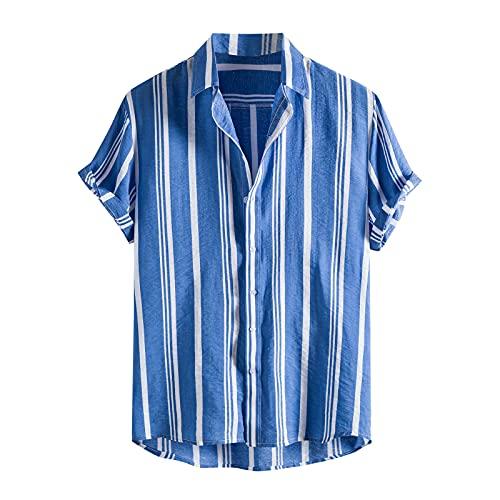 Camisa de verano para hombre, manga corta, con botones, para verano, vintage, con bolsillos, para el tiempo libre Azul 2 S