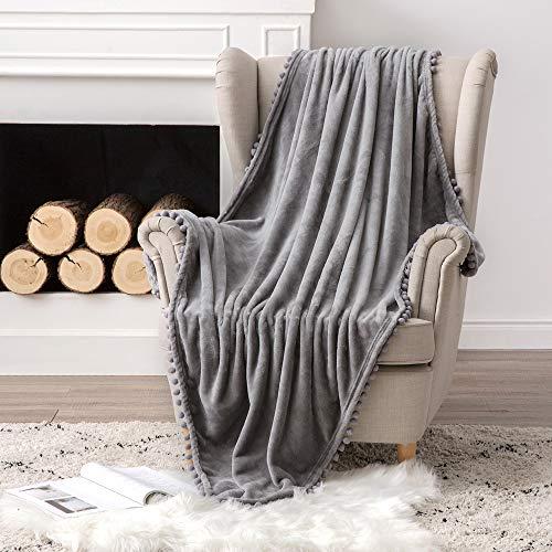 MIULEE Manta Blanket Terciopelo Grande para Sófas Mantilla de Franela para Siesta Súper Suave Manta para Cama Ligera y Cálida Felpa para Mascota Cama Habitacion Dormitorio 1 Pieza 125x150cm Gris...