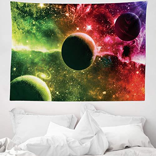 ABAKUHAUS Psicodélico Tapiz de Pared y Cubrecama Suave, Espacıo Universo Cosmos Galaxia Nebulosa Estrellas y Planetas Tonos Vibrantes, Lavable Colores Firmes, 150 x 110 cm, Magenta