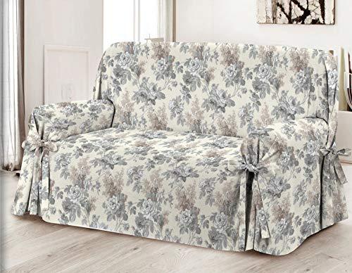 Home Life – Cubre sillón – Elegante Protector de sofás con Flores – Funda de sofá de algodón para Proteger del Polvo, Las Manchas y el Desgaste, Fabricado en Italia – Gris