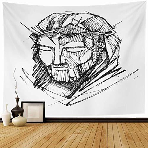 Tapiz Colgante de pared Bosquejo sagrado Dibujado a mano Dibujo Jesucristo Barba Católico Cristiano Corona Diseño divino Decoración del hogar Tapices Dormitorio decorativo Sala de estar Dormitorio