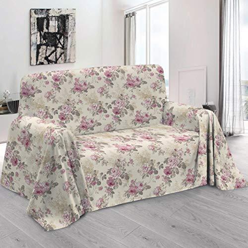 HomeLife – Foulard Multiusos – Tela Decorativa Cubre sofá con Elegante diseño Floral de Rosas, 160x280, fabricación Italiana – Granfoulard de algodón – Cubrecama Individual (Cama 1 Plaza)...