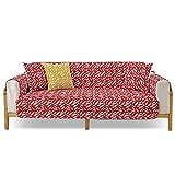 PETCUTE Funda para Sofa Cubre Sofás 2 Plaza Antideslizante Protector para Sofás Acolchado Funda de Cojín de Protección Antisuciedad 1 Pieza Rojo