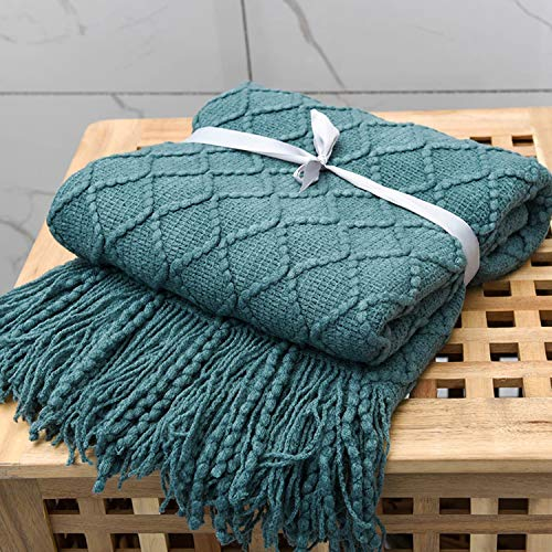 Adory Sweety - Manta de punto para sofá o cama, diseño de franja nórdica, cálido y bonito, 130 x 170 cm