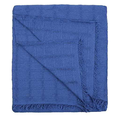 HOME MERCURY - Colcha Multiusos Sofa, Cubrecama, Jarapas, Manta Foulard, Plaid para Cama, Cubresofa, Cómoda Practica y Suave. Poliéster Algodón. (180X260CM, Cuadro Azul)