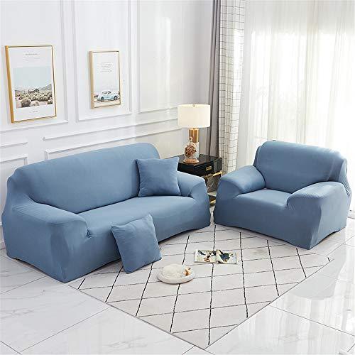 Surwin Funda de Sofá Elástica para Sofá de 1 2 3 4 plazas, Impresión Universal Cubierta de Sofá Cubre Moda Sofá Antideslizante Sofa Couch Cover Protector (Azul grisáceo,2 plazas - 145-185cm)