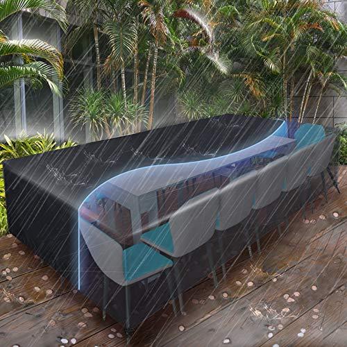 Essort Funda Muebles Jardin Impermeable, Funda Sofa Jardin Exterior,Funda Protectora Mesa Jardin,Funda Protectora Muebles Copertura Tamaño Grande 315x160x74cm ,Negro