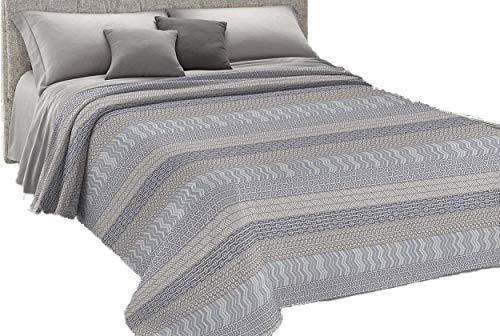 HomeLife - Colcha para cama de una plaza y media, de piqué (220 x 280 cm), fabricada en Italia   Manta de algodón estilo azteca   Sábana 1 plaza y media ligera   1,5 P, gris