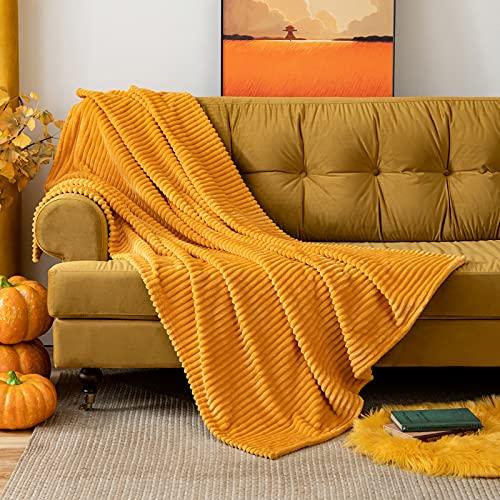 MIULEE Manta Blanket Terciopelo Grande para Sófas Mantilla de Franela para Siesta Suave Manta Corduroy para Cama Ligera y Cálida Felpa para Mascota Cama Habitacion 1 Pieza 125x150cm Naranja