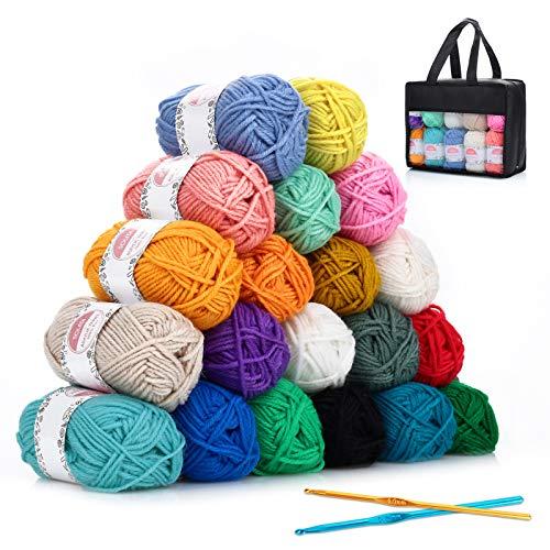 Hilo Acrílico SOLEDI lana prémium ovillos de hilo para tejer, perfecto para DIY y tejer a mano, con gratis ganchillo y bolsa de almacenamiento (25 g * 20 colores)