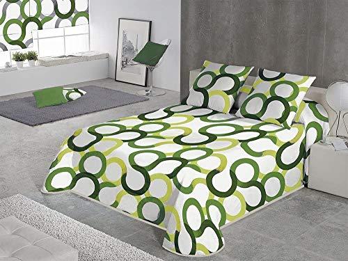 SABANALIA - Colcha Estampada Aros (Disponible en Varios tamaños y Colores), Cama 90-180 x 280, Verde