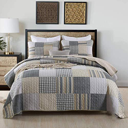 WDXN Colcha Cubrecamas 3 Piezas Bouti Diseño De Mosaico Reversible,Edredón Suave Lavable con 2 Fundas De Almohada,230 * 250cm