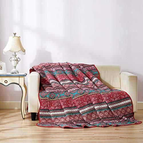 Qucover Cubrecama para Cama 135/cama Individual,200x200cm,Colcha Verano bouti sofá Cubrecanapes,Ropa de Cama,Manta de 100% algodón