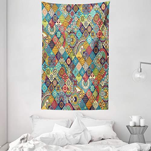 ABAKUHAUS Bohemio Tapiz de Pared y Cubrecama Suave, Gente A Cuadros, Lavable Colores No Destiñen, 140 x 230 cm, Multicolor