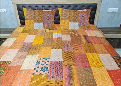 Sophia-Art Colcha india para cama individual o king india con retazos étnicos, colcha india de seda antigua bohemia Sari Kantha, colcha de patola (naranja, King 90 x 108 pulgadas con fundas de funda)