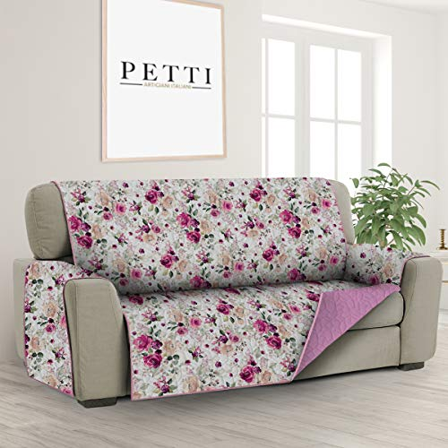 PETTI Artigiani Italiani - Fundas Sofa, Funda Sofa 1 Plaza, Funda de Sofa Reversible, Cubre Sofas, Funda de Sofa y Funda de Sillon, 100% Made in Italy, Flores Blancas