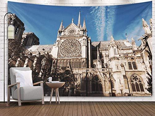 Tapiz grande para colgar en la pared, tapiz para colgar en la pared, decoración de la catedral católica medieval de París en la cuarta mejor arquitectura francesa es un tapiz para colgar en la...