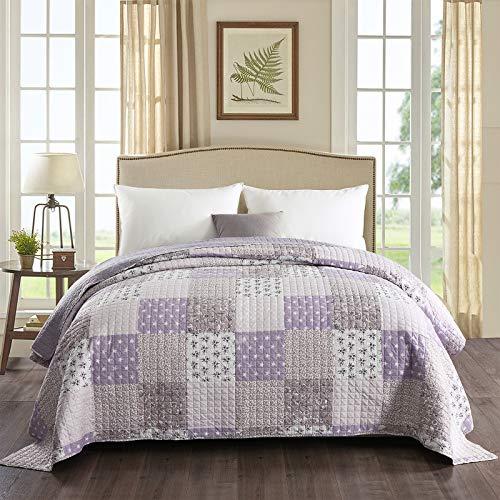 WOLTU® BD10m03, Tagesdecke Bettüberwurf Steppdecke Patchwork Wendedesign Bettdecke Stepp Decke Doppelbett unterfüttert und gesteppt, 220x240 cm