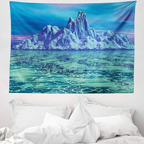 ABAKUHAUS Ice Berg Tapiz de Pared y Cubrecama Suave, Escena del Paisaje ártico, Estampa Resistente, 150 x 110 cm, Verde Menta Multicolor