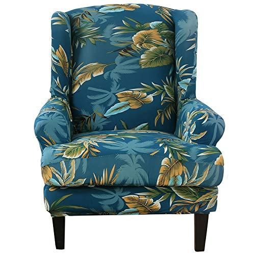 SHANNA Funda Sillon, Funda Sillon Orejero Fundas Sofa Elasticas Fundas para Sofa Relax Cubre Sofa Spandex - Hoja Verde