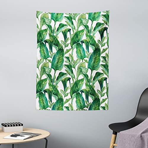 ABAKUHAUS Hoja Tapiz de Pared y Cubrecama Suave, Árbol De Plátano De Agua, Lavable Colores Firmes, 110 x 150 cm, Verde Oscuro y Verde Forrest
