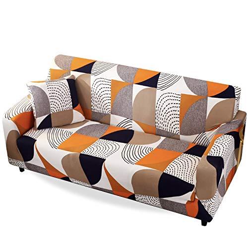 Carvapet Fundas Sofás Elástica Fundas de Sofá Protector Tela Elástico Impreso Antideslizante Cubre Sofá Protector de Muebles (Naranja, 2 plazas 135-170cm)