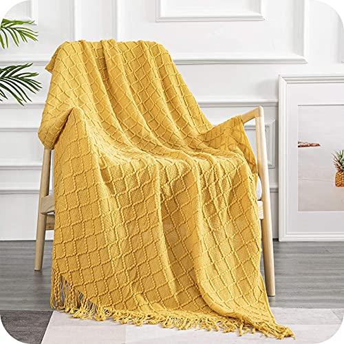 Topfinel Manta de Punto para Sofá o Cama Algodón Diseño Nórdico Cálida Suave con Flecos para Siesta Silla Playa Cubrecama Sobrecama Niño 130x150cm Amarillo
