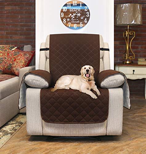 Utopia Bedding Funda Impermeable para sofá con Correas elásticas Ajustables - Protección Antideslizante para Muebles para Mascotas de 1 plazas, Gris/Beige [NO Apto para SOFASHION DE Cuero]