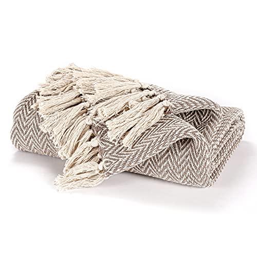 EHC - Funda de sillón de sofá individual reversible de algodón tejido a mano 125 x 150 cm - Beige