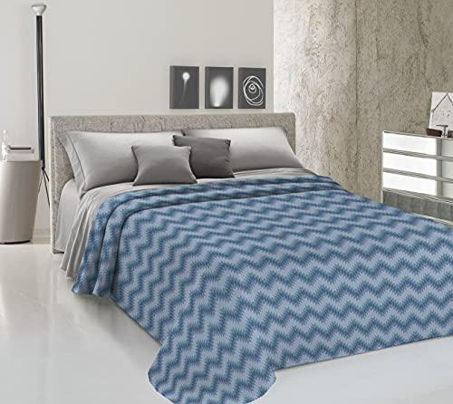 HomeLife Colcha de una plaza y media para primavera y verano de piqué [220 x 280] Made in Italy | Colcha de algodón con estampado geométrico | Colcha de 1 plaza y media ligera | Azul
