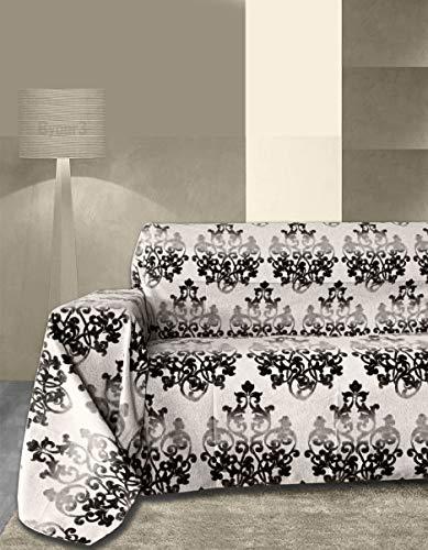 Byour3® Funda De Sofá Algodón 3 4 5 Plazas Granfoulard Fantasía Damasco Tela Sofa Cubre Todo Protector De Sofás Chaise Longue Derecho Izquierdo Lavable (Negro Damasco, 4 plazas 400x275 cm)