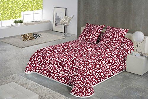 SABANALIA - Colcha Estampada Letras tamaños - Cama de 90-180 x 280 cm, Rojo