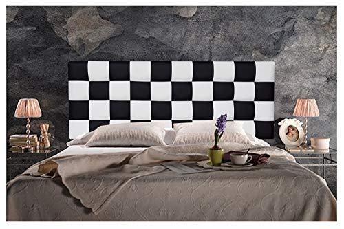 ONEK-DECCO Cabecero de Cama en Polipiel de Dormitorio Mod. Kansas Patchwork 2 Colores Blanco-Negro para Cama de niño, Juvenil y Matrimonio (Blanco-Negro, 105x70)