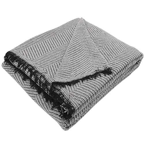 MERCURY TEXTIL- Colcha Manta Foulard Multiusos,cubresofa, cubrecama (180 x 260cm, Espiga Gris Negro)