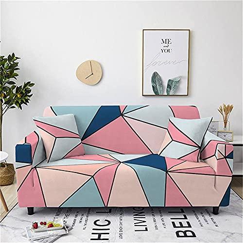 Meiju Funda de Sofá Elástica para Sofá de 1 2 3 4 Plazas, Ajustable 3D Geometría Estampada Cubre Sofa con 1 Funda de Cojín, Antisuciedad Antideslizante Protector de Muebles (Rosa,3 plazas)