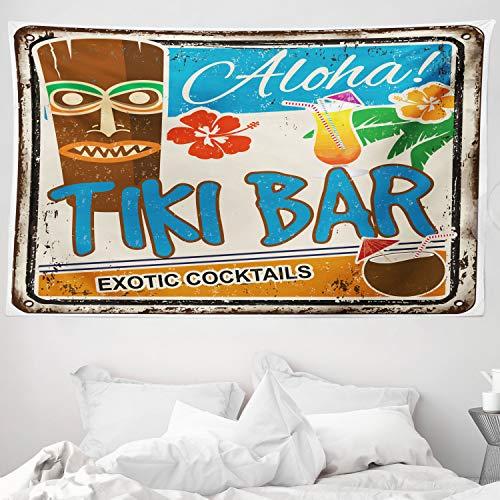 ABAKUHAUS Bar Tiki Tapiz de Pared y Cubrecama Suave, Cartel Vintage Añejado Aloha Tragos Exóticos y Coco Bebidas Antiguo Nostálgico, Objeto Decorativo Lavable, 230 x 140 cm, Multicolor