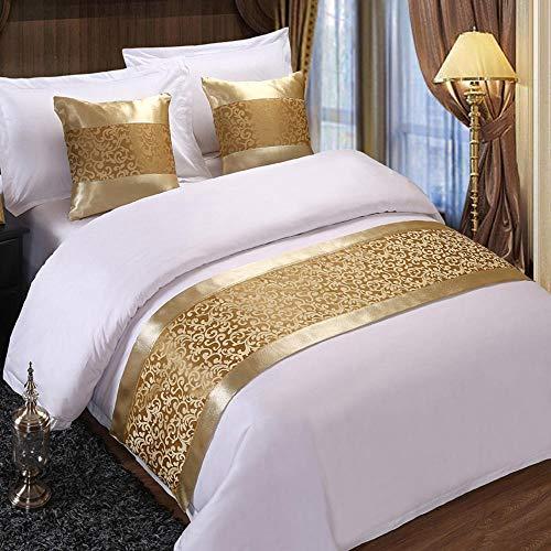 KaO0YaN Caminos de Mesa Toalla de Cama Bandera Bed Flag Moderno Minimalista Algodón Cubrecama Colchoneta Hotel Dormitorio 50X180CM(1.2M Cama) Flor De Ganchillo Dorado