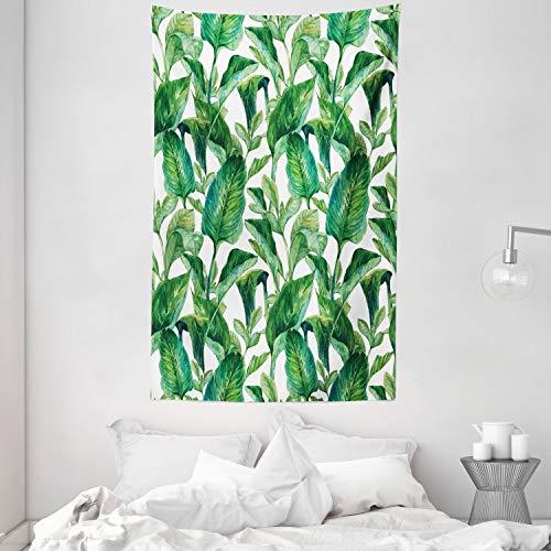 ABAKUHAUS Hoja Tapiz de Pared y Cubrecama Suave, Árbol De Plátano De Agua, Objeto Decorativo Lavable, 140 x 230 cm, Verde Oscuro y Verde Forrest