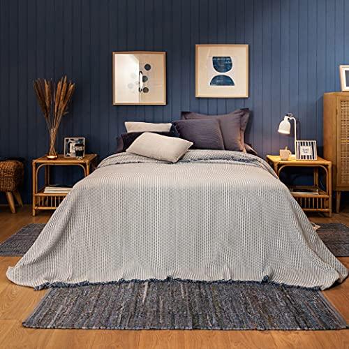 LA MALLORQUINA Colcha Miravet - Plaid Multiusos de Cama y sofá para Invierno y Entretiempo - [Cama 180 o 200cm - 260x270cm - Azul]