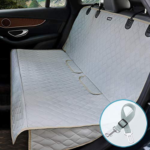 Lassie Funda Coche Perro Cubre Impermeable 137x127cm Antideslizante Asientos Coche Perro Resistente Arañazos Protector Coche Perros Asiento Universal para SUV, Camión, Transportar y Viaje