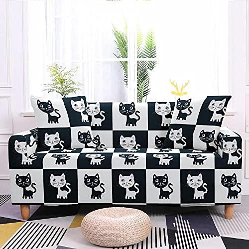 Fundas para Sofa Elastica 2 Plazas, Blanco y Negro Gato de Dibujos Animados Cuadros Estampada Suave Funda Cubre Sofá Ajustables Cubresofá Cubierta para sofá Funda Protector Funda de sillón...
