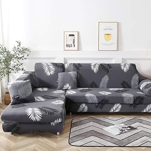 laamei Funda de Sofa Elástica Chaise Longue 2 Piezas Brazo Largo Derecho Izquierda Funda Cubre Sofá de Forma L Protector para Sofá de Poliéster Estampado Floral