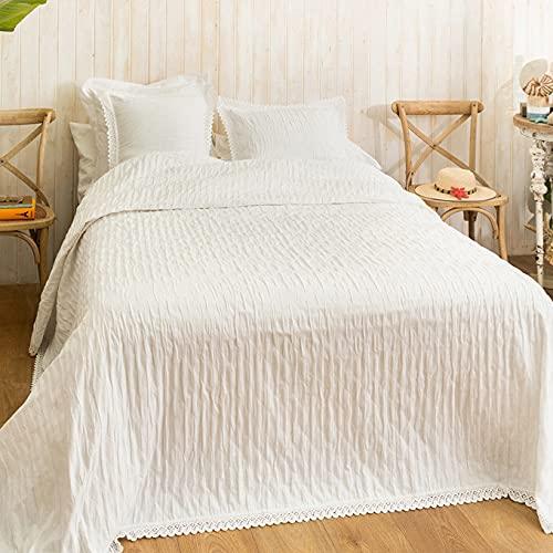 LA MALLORQUINA Colcha de Piqué - Camelia (Cama 090 o 105cm - 180x260cm - Blanco) | Colchas de Lujo y Diseño de Algodón