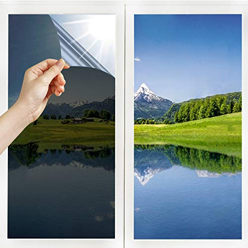 Lámina de espejo autoadhesiva para ventana, protección solar, 99 % de protección UV, color negro (40 x 400)